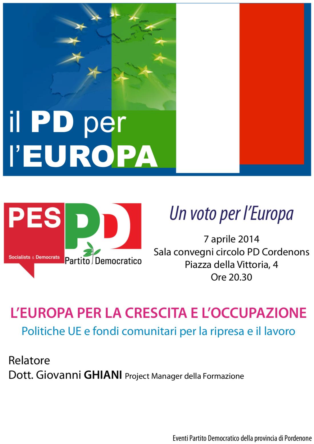 Evento elezioni europee - PD Cordenons